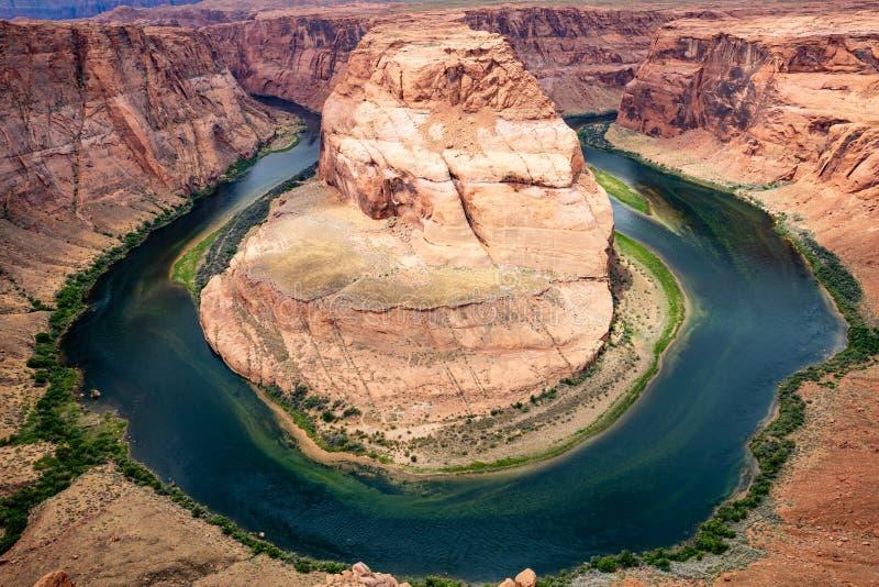 Horseshoe bend, Colorado River meander, Arizona United States. Horseshoe bend, Arizona. Horseshoe shaped incised meander of the Colorado River, United States royalty free stock photo