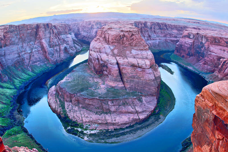 Horseshoe bend of Colorado river after sunset. royalty free stock photos