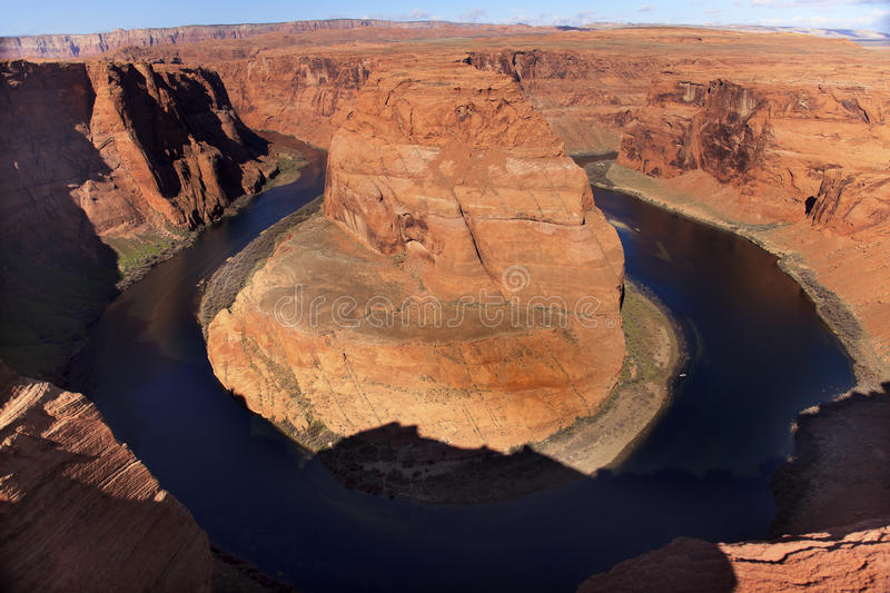 Horseshoe Bend Glen Canyon Colorado River Arizona. Horseshoe Bend Orange Glen Canyon Overlook Small Boat Blue Colorado River Entrenched Meander Page Arizona royalty free stock image