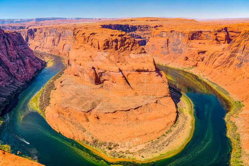Horseshoe Bend is a horseshoe-shaped incised meander of the Colorado River royalty free stock photo