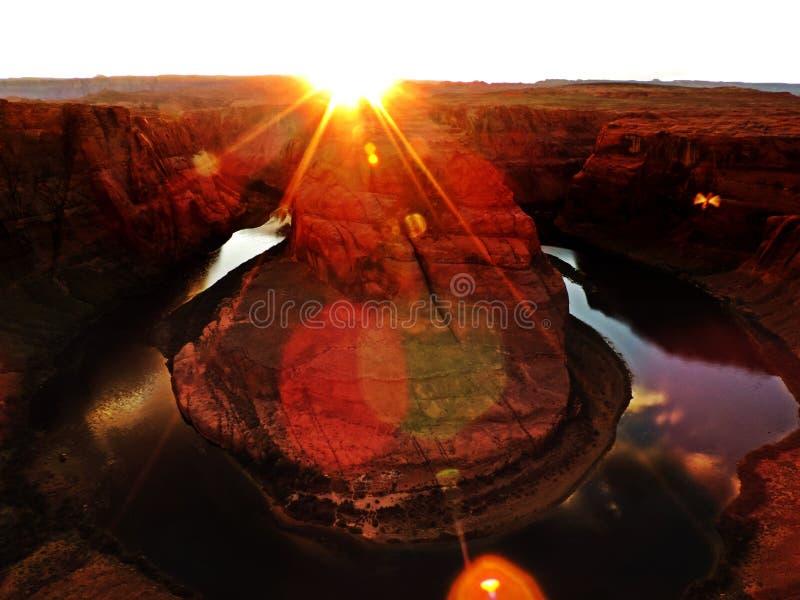 Horseshoe bend during sunset stock image