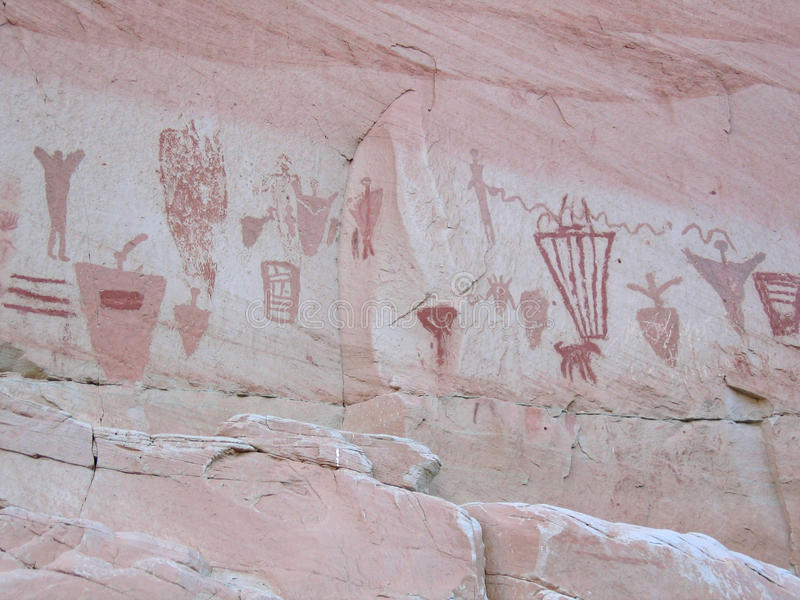 Horseshoe Canyon Pictographs. Pictographs in Horseshoe Canyon near the Great Gallery (Canyonlands National Park, Utah royalty free stock photography