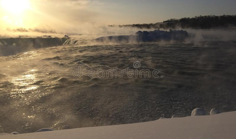 Horseshoe Falls in February royalty free stock images