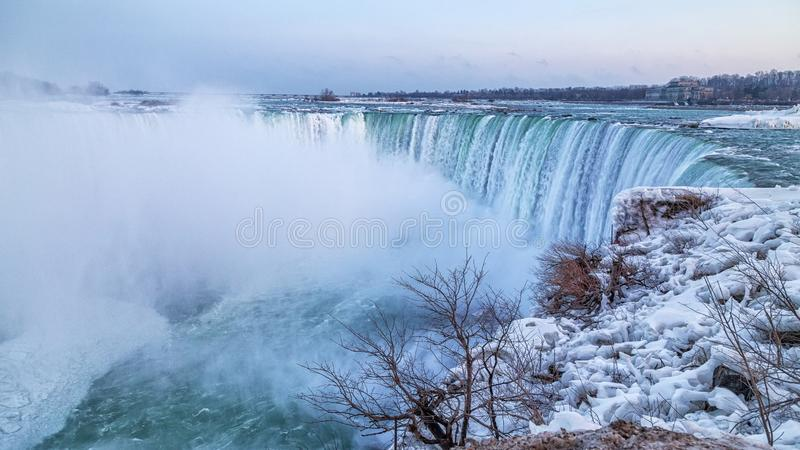 Horseshoe Falls in frigid winter royalty free stock images