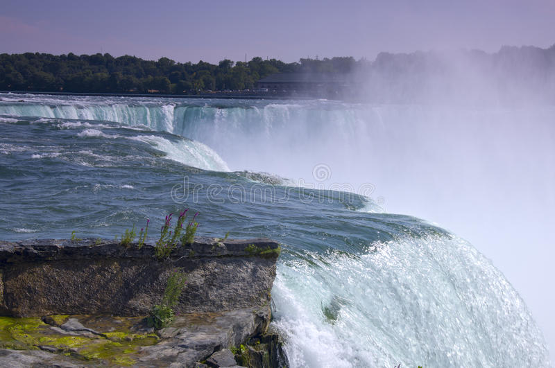 Horseshoe Falls at Niagara. And Rankine Hydro Power Plant of Canada behind it royalty free stock images