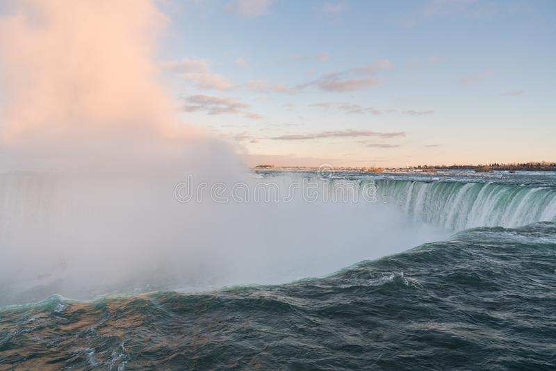 Horseshoe Falls at Niagara Falls up close stock photo