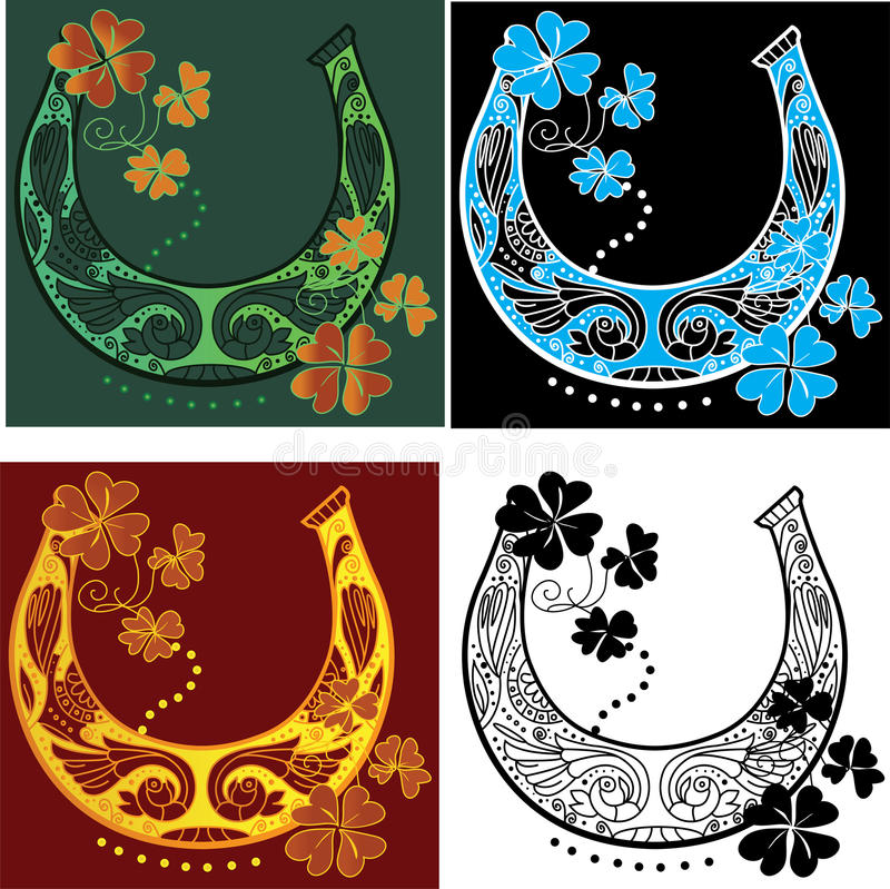 Horseshoe and four leaf clover royalty free illustration