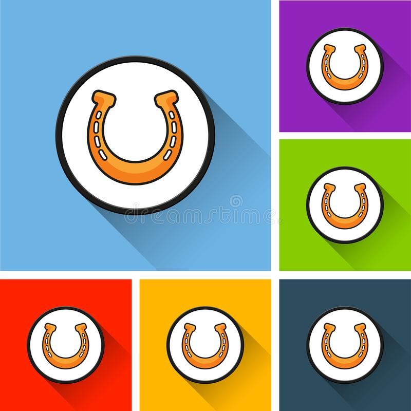 Horseshoe icons with long shadow vector illustration
