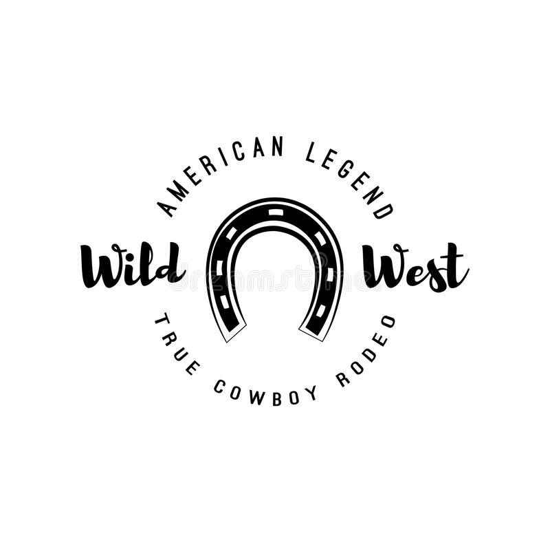 horseshoe Label occidental sauvage Insigne de concurrence de rodéo Illustration occidentale illustration de vecteur