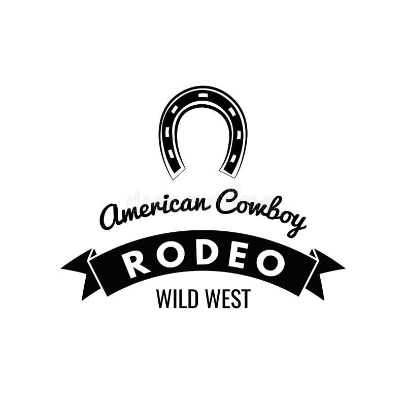 horseshoe Label occidental sauvage Insigne de concurrence de rodéo Illustration occidentale illustration libre de droits