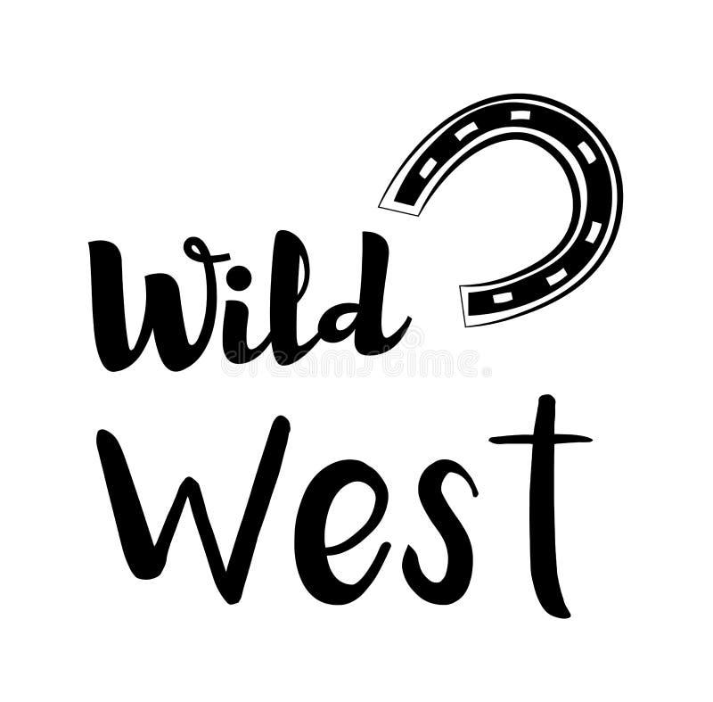 horseshoe Label occidental sauvage Insigne de concurrence de rodéo occidental illustration stock