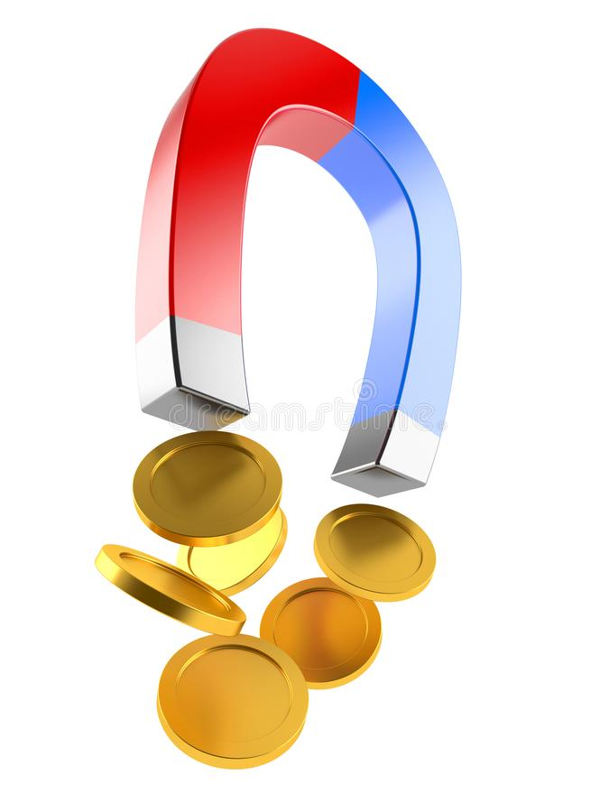 Horseshoe magnet with coins royalty free illustration