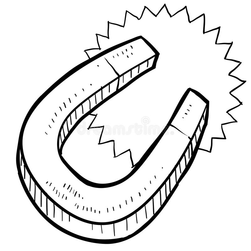 Horseshoe Magnet Sketch Stock Vector Illustration Of