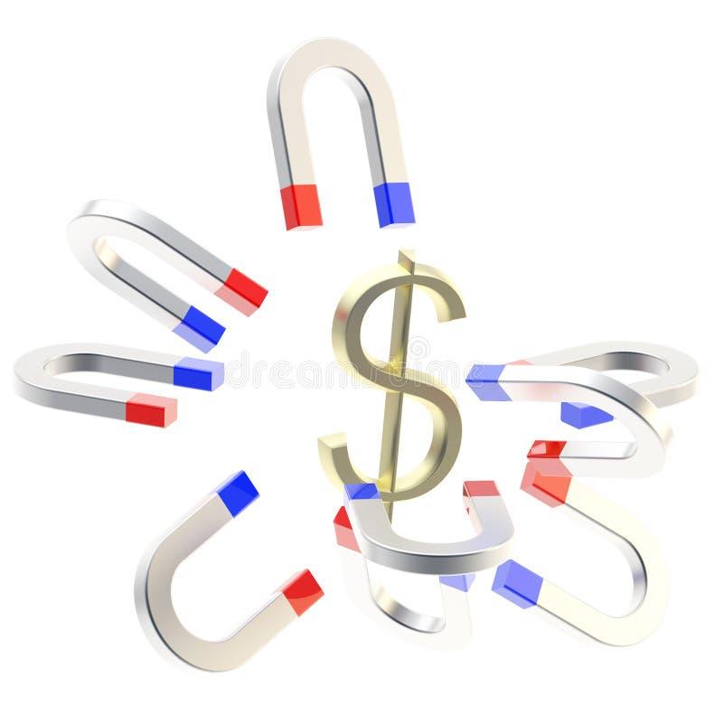 Horseshoe magnets attract golden USA dollar symbol vector illustration