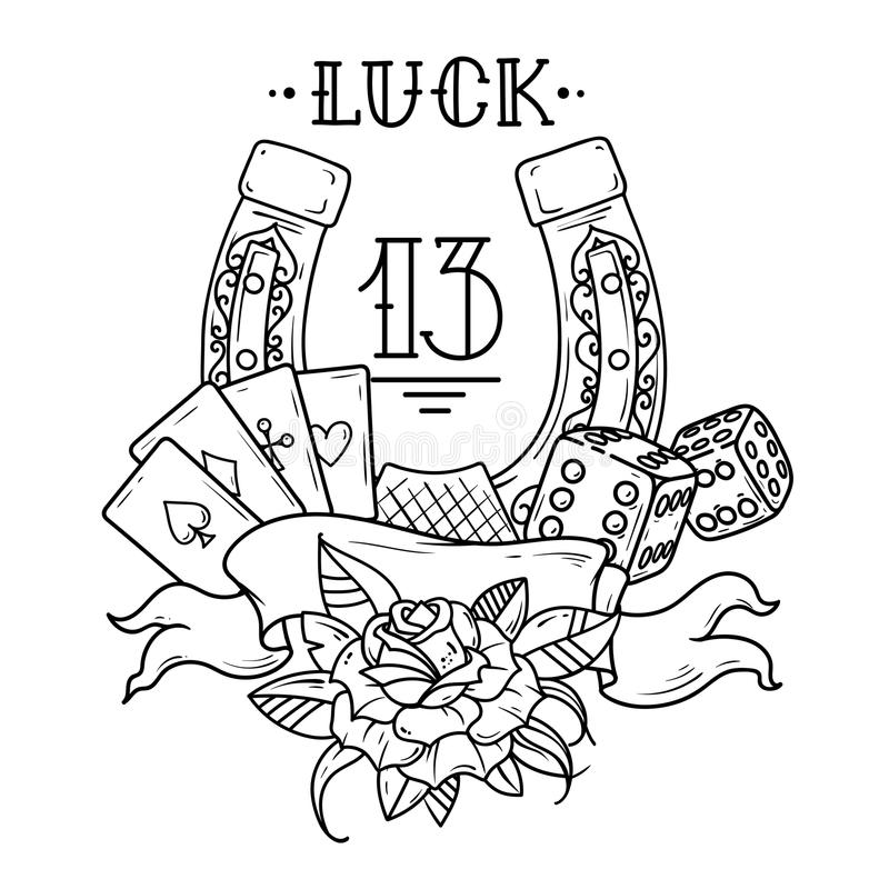 Horseshoe with playing cards,dice,shamrock clover and number 13. Black and white illustration. Tattoo horseshoe with playing cards, dice, rose , shamrock clover royalty free illustration