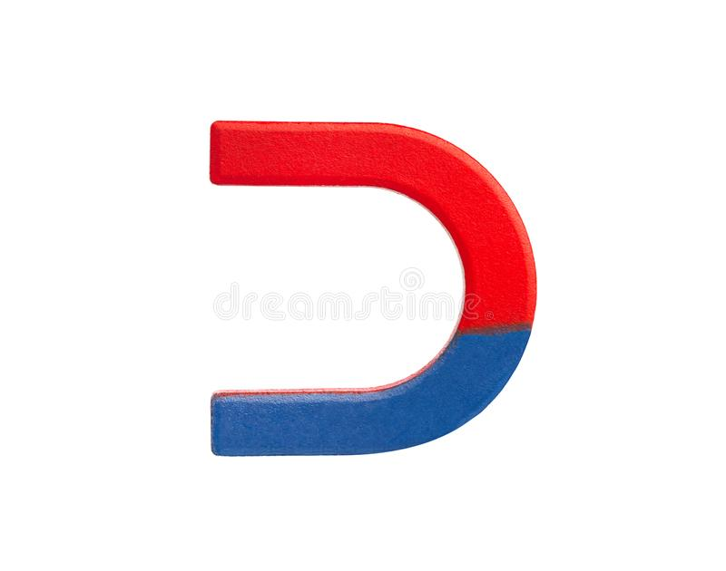 Horseshoe red and blue magnet stock image