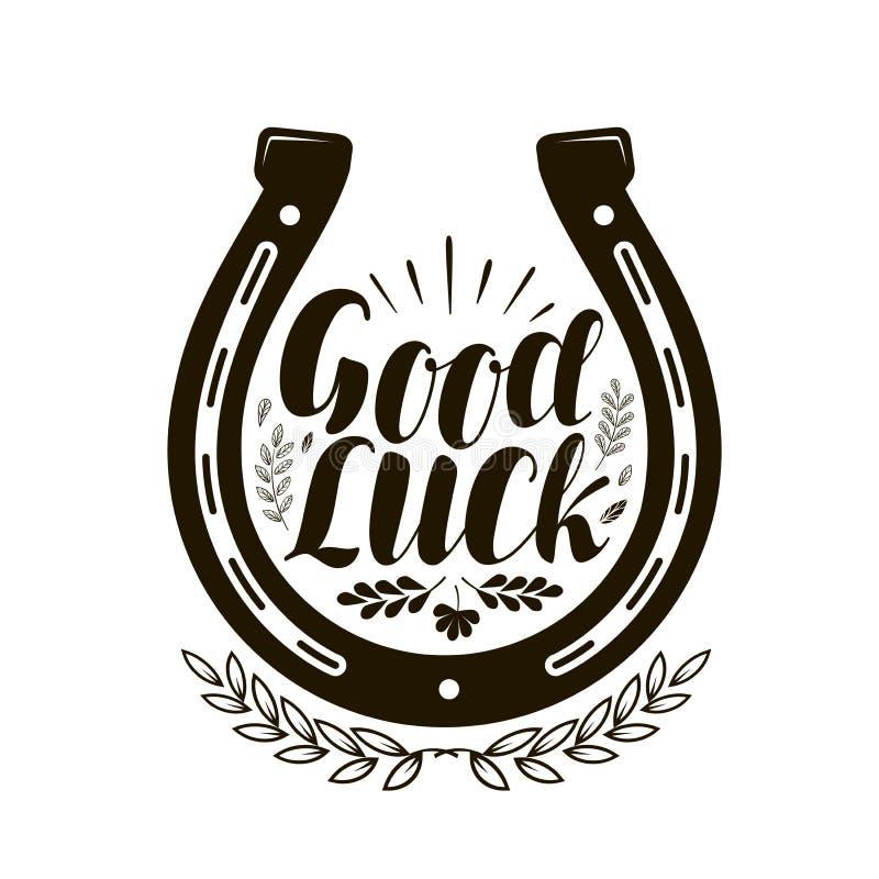 Free Horseshoe Symbol Or Label. Good Luck, Lettering. Vector Illustration Stock Photo - 100584380