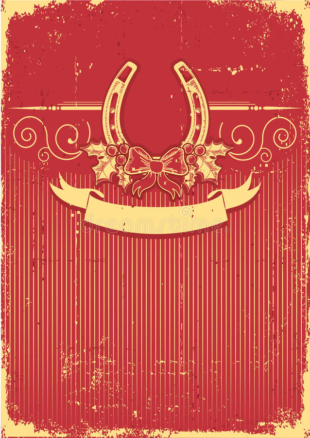 Horseshoe on vintage red christmas royalty free illustration