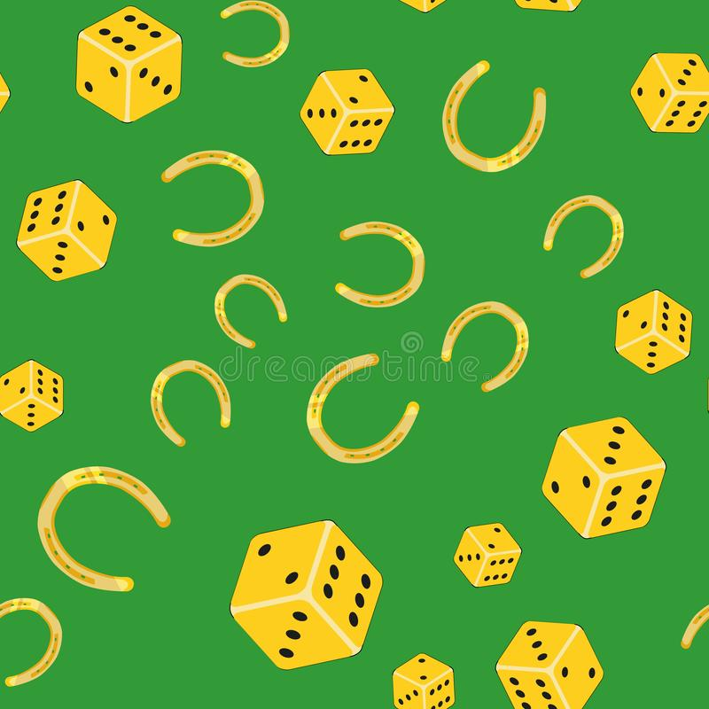 Horseshoes and dice on a green background - Seamless vector pattern vector illustration