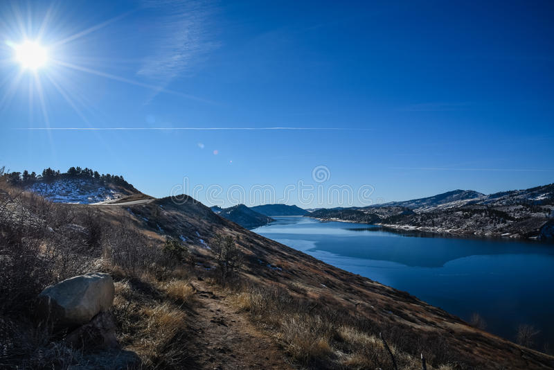 Horsetooth Reservoir, Fort Collins, Colorado in Winter stock image