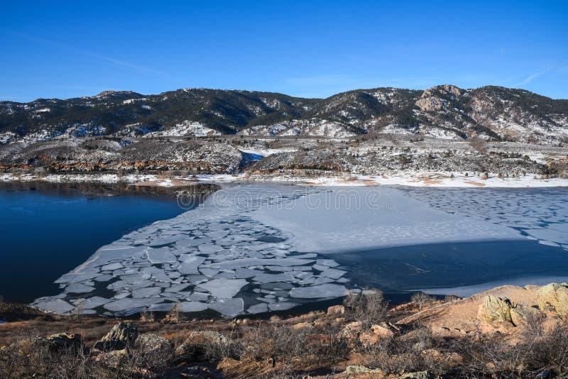 Horsetooth rezerwuar, fort Collins, Kolorado w zimie zdjęcia stock