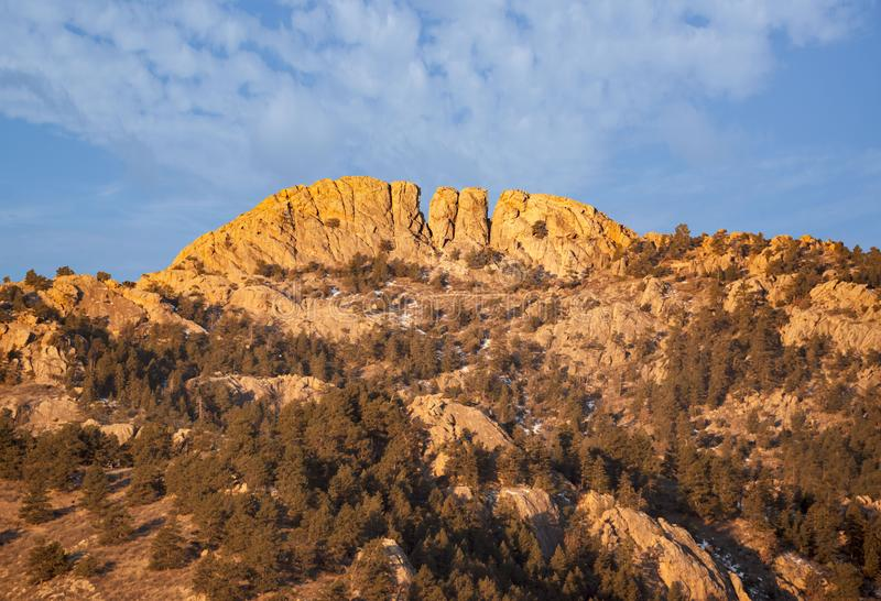 Horsetooth rock formation at sunrise is a distinctive geological and popular mountain landmark overlooking Fort Collins,Colorado royalty free stock photo