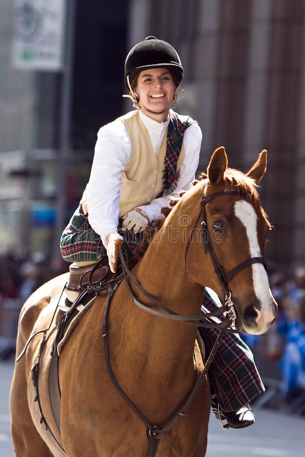 Horsewoman. Picture Taken During The 13th Annual Tartan Day Parade On Saturday April 9, 2011 In New York City. The Parade Begins At 45th Street On Sixth Avenue royalty free stock image
