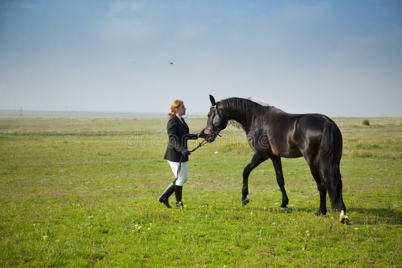 Horsewoman bildet das Pferd aus lizenzfreie stockfotos