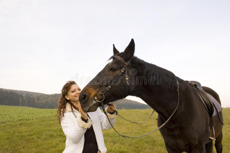 Download Horsewoman and horse. stock photo. Image of riding, running - 12944456