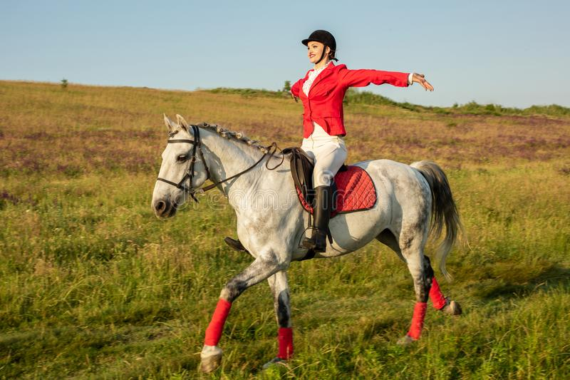 The horsewoman on a red horse. Horse riding. Horse racing. Rider on a horse. The sportswoman on a horse. The horsewoman on a red horse. Equestrianism. Horse royalty free stock images