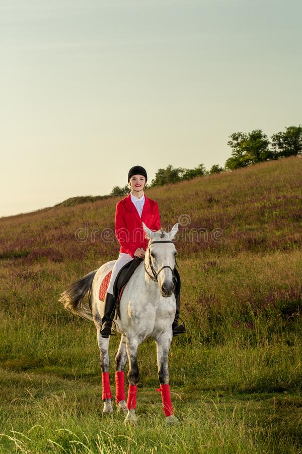 The horsewoman on a red horse. Horse riding. Horse racing. Rider on a horse. The sportswoman on a horse. The horsewoman on a red horse. Equestrianism. Horse royalty free stock image