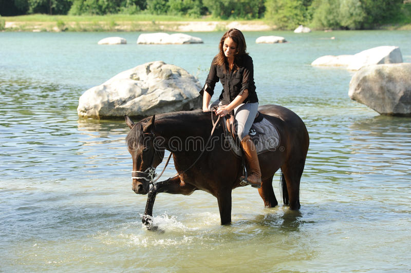 Horsewoman. Rider on horseback in the snow royalty free stock photo