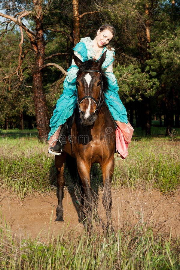 Horsewoman riding. royalty free stock images