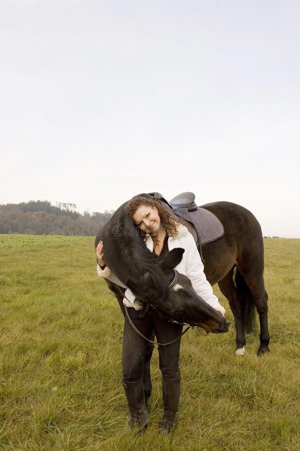 Horsewoman und Pferd stockbilder
