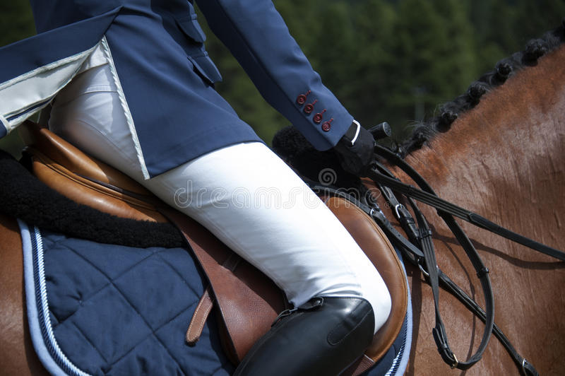 Horsewoman in uniform. At a jumping show royalty free stock photo
