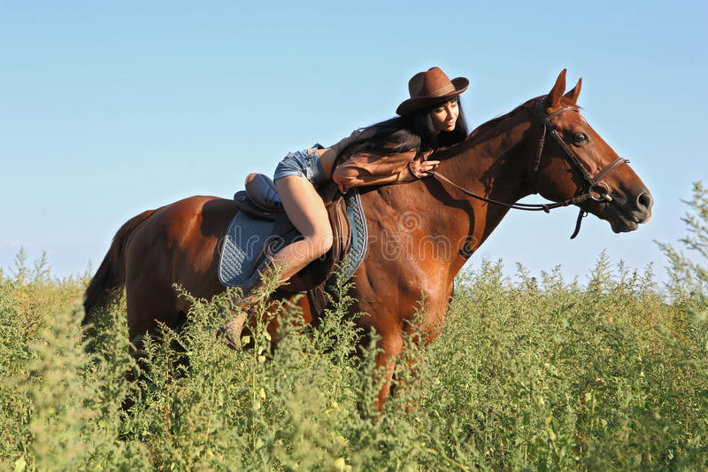 Horsewoman stock photo