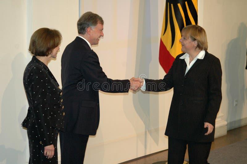 Horst Koehler, Angela Merkel imagen de archivo