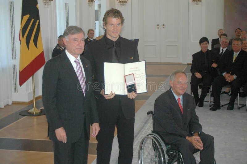 Horst Koehler, Jens Lehmann, Wolfgang Schaeuble fotos de archivo
