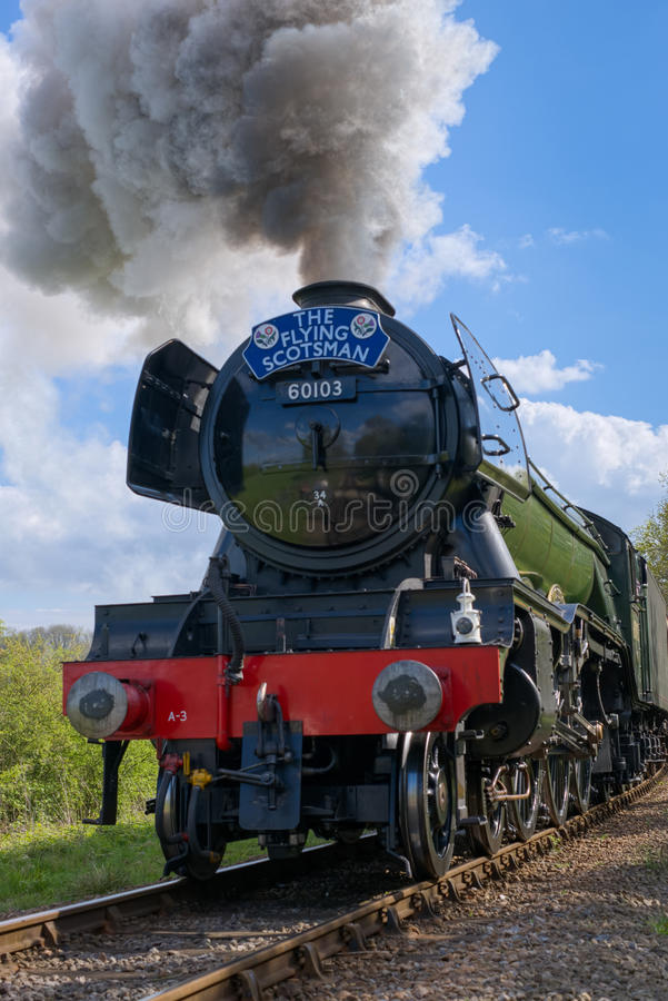 HORSTED KEYNES, SUSSEX/UK - APRIL 13 : Flying Scotsman on the Bl. Uebell Line near Horsted Keynes in Sussex on April 13, 2017 royalty free stock image