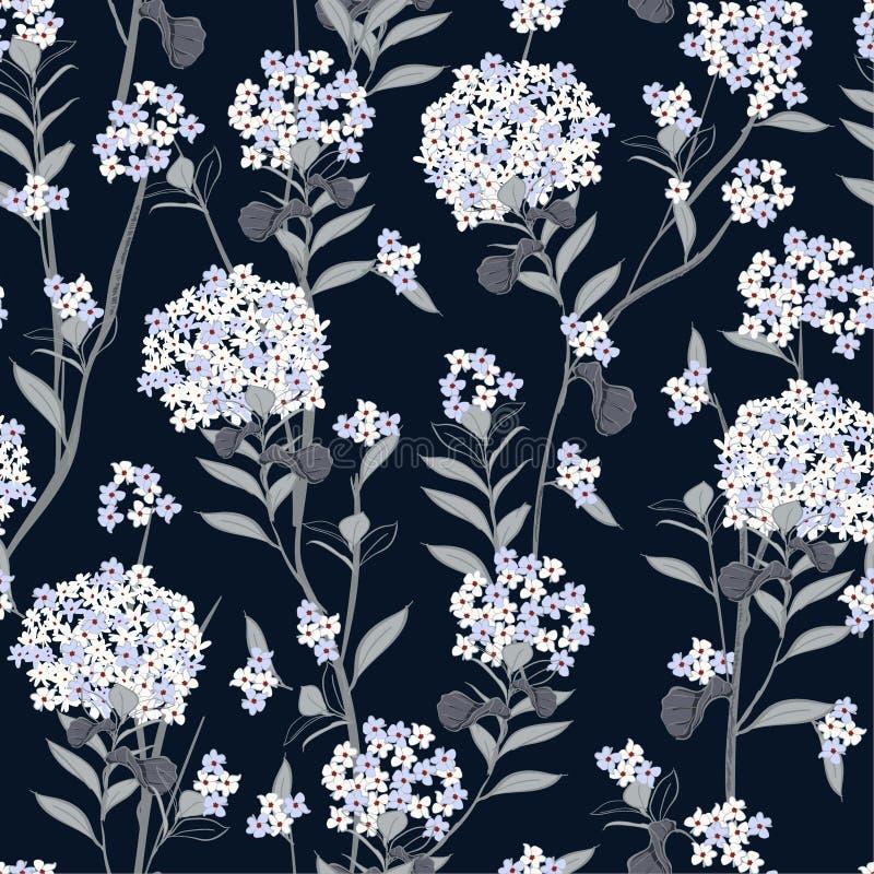 A hortênsia de florescência bonita floresce o vetor sem emenda do teste padrão para ilustração royalty free