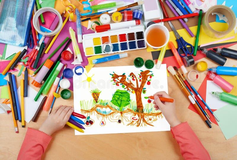 Horta do desenho da criança com vegetais, mãos da vista superior com imagem da pintura do lápis no papel, local de trabalho da ar fotos de stock royalty free