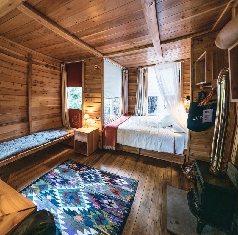 Horta, Faial Island - July 13, 2019: View towards beautiful Hotel room of Glamping Resort Azul Singular on Faial island stock photos