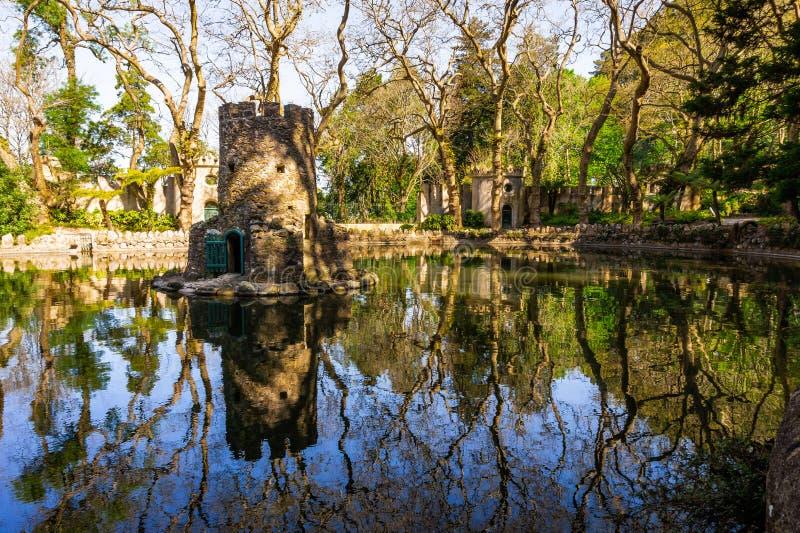 Hortali?as em jardins de Pena, SIntra, Portugal Parque e palácio nacional de Pena fotografia de stock