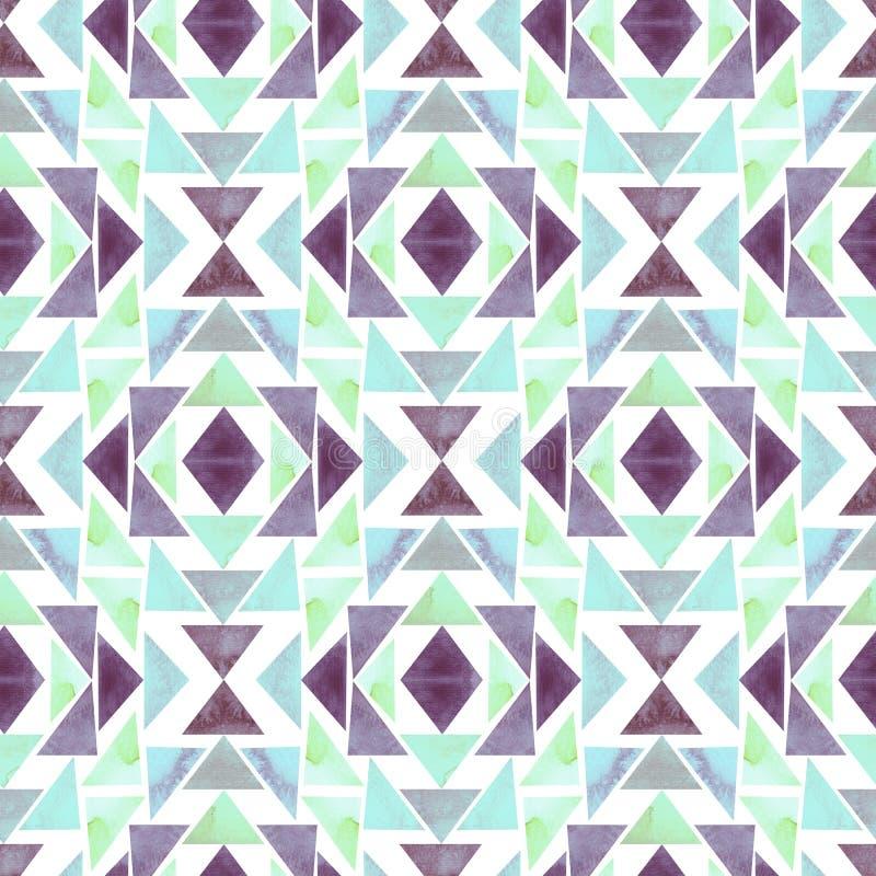 Hortelã da aquarela e teste padrão geométrico sem emenda dos triângulos roxos ilustração stock