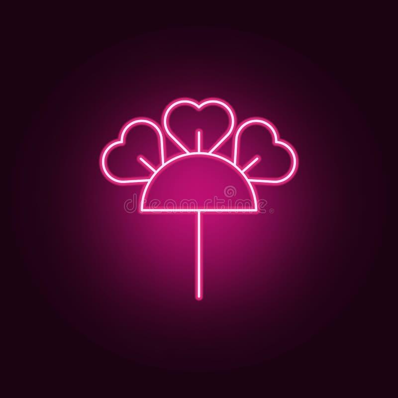 hortensi ikona Elementy liście i kwiaty w neonowych stylowych ikonach Prosta ikona dla stron internetowych, sieć projekt, mobilny royalty ilustracja