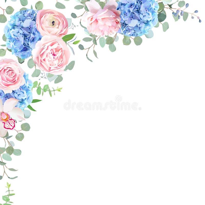 Hortensia, orquídea, rosa del rosa, ranúnculo, eucalipto y GR azules libre illustration