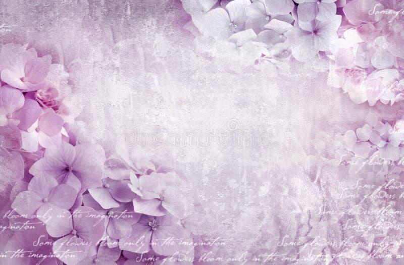 Hortensieblumenpostkarte Kann als Grußkarte, Einladung für die Heirat verwendet werden, Geburtstag und anderes Feiertags-Vorkommn lizenzfreie stockfotos