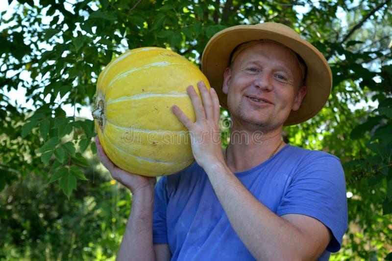 Horticulteur montrant un potiron photos libres de droits