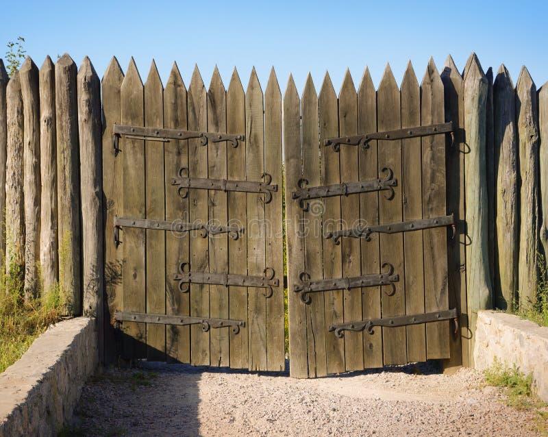 Hortitsa. Vintage wooden gates stock photo