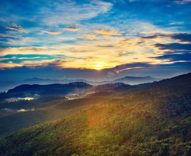 Horton równiny Krajobraz przy wschodem słońca fotografia royalty free